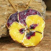 Natural flower pendant necklace, 'Pretty Pansy' - Natural flower gold pendant necklace
