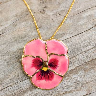 Gold plated natural flower pendant necklace pink pansy novica natural flower pendant necklace pink pansy gold plated natural flower pendant necklace mightylinksfo