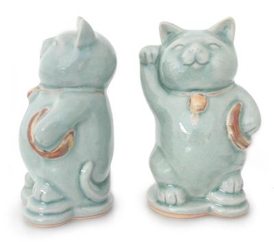 Celadon Ceramic Sculptures (Pair)