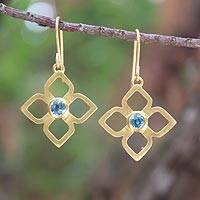Gold plated blue topaz flower earrings, 'Thai Bloom'