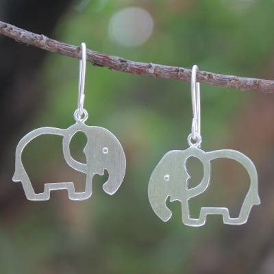 Sterling silver drop earrings, 'Moonlit Elephants' - Unique Sterling Silver Dangle Earrings