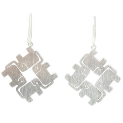 Sterling silver dangle earrings, 'Elephant Matrix' - Handcrafted Sterling Silver Elephant Earrings