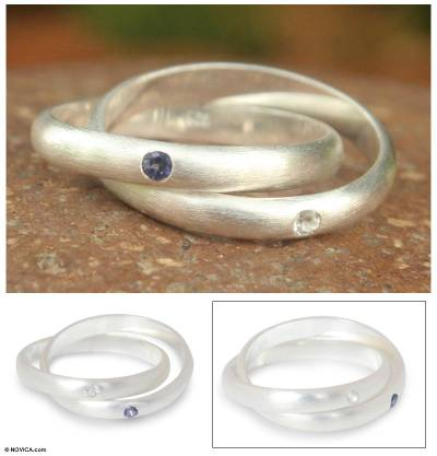 Iolite and topaz band ring, 'Creation' - Fair Trade Sterling Silver and Iolite Ring