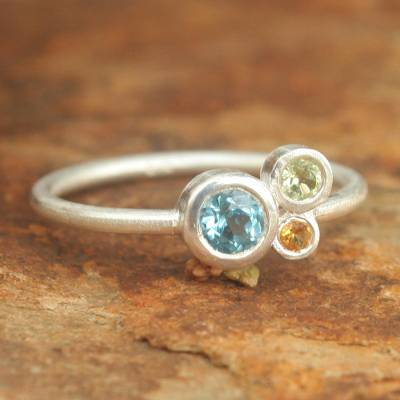 Blue topaz and citrine cocktail ring, 'Chiang Mai Majesty' - Handmade Blue Topaz and Citrine Cocktail Ring