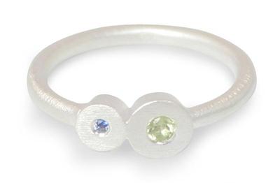 Modern Silver Peridot and Sapphire Ring