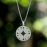 Sterling silver pendant necklace, 'Pachyderm Circle'