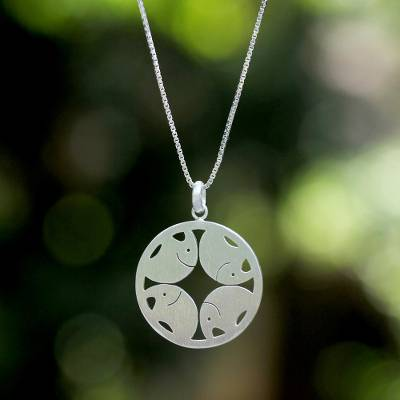 Sterling silver pendant necklace, 'Pachyderm Circle' - Artisan Crafted Sterling Silver Pendant Necklace