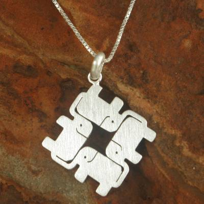 Sterling silver pendant necklace, 'Elephant Matrix' - Thai Sterling Silver Pendant Necklace