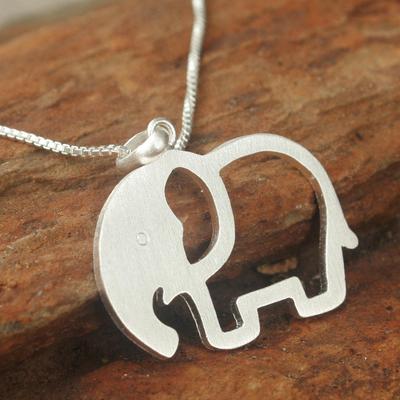 Sterling silver pendant necklace, 'Moonlit Elephant' - Artisan Crafted Sterling Silver Pendant Necklace