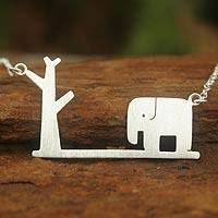Sterling silver pendant necklace, 'Wildlife'