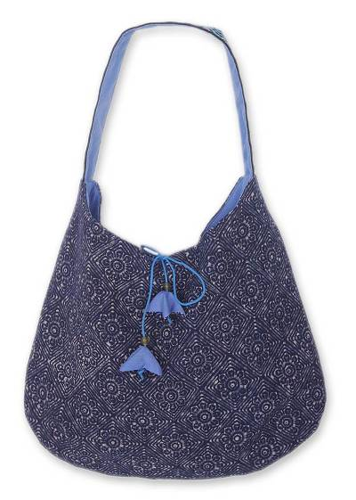 Cotton hobo shoulder bag, 'Tribal Tulips' - Floral Cotton Hobo Handbag from Thailand