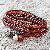 Leather and carnelian wrap bracelet, 'Hope'