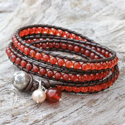 Leather and carnelian wrap bracelet, 'Hope' - Artisan Crafted Carnelian Wrap Bracelet