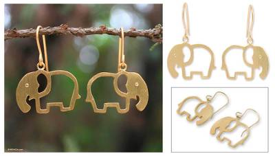 Gold plated dangle earrings, 'Sunlit Elephants' - Handcrafted Gold Plated Dangle Earrings