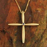 Gold plated iolite cross necklace, 'Visionary' - Gold plated iolite cross necklace