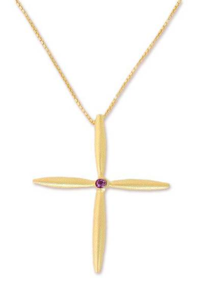 Gold plated iolite cross necklace