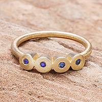 Gold plated sapphire cocktail ring, 'Songkran Moons' - Gold plated sapphire cocktail ring