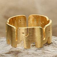 Gold plated band ring, 'Elephant Pride' - Handcrafted Thai Elephant Ring