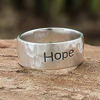 Sterling silver band ring, 'Spirit of Hope' - Inspirational Sterling Silver Band Ring