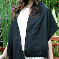 Beaded shawl, 'Glamour in Black' - Hand Beaded Silk Blend Shawl