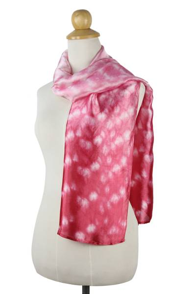 Unique Pink and White Ombre Silk Blend Patterned Scarf