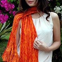 Scarf, 'Orange Ruffles' - Scarf