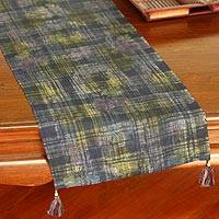 Batik hemp table runner, 'Indigo Chiang Mai' - Batik Hemp Table Runner