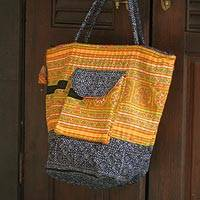Cotton shoulder bag, 'Sunny Hmong' - Cotton shoulder bag