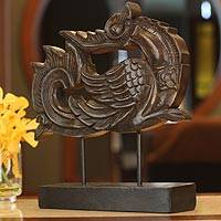 Wood sculpture, 'Magnificent Huang' - Huang Bird Carving on Stand
