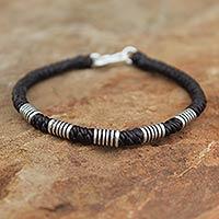 Silver wristband bracelet, 'Thai Sabai' - Handmade Silver Braided Bracelet