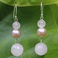 Pearl and rose quartz dangle earrings, 'Love's Promise' - Pearl and Rose Quartz Dangle Earrings