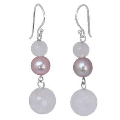 Pearl and Rose Quartz Dangle Earrings
