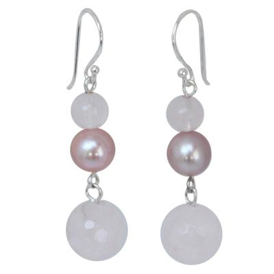 Pearl and Rose Quartz Dangle Earrings