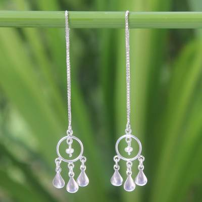 Cultured pearl threader earrings, 'Love Trio' - Pearl and Silver Threader Earrings