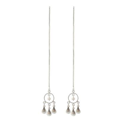 Cultured pearl threader earrings, 'Love Trio' - Pearl and Silver Threader Earrings