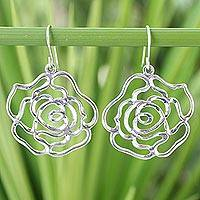 Sterling silver flower earrings, 'Roses in Love' - Floral Sterling Silver Dangle Earrings