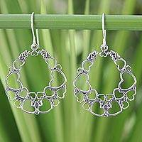 Sterling silver heart earrings, 'Joyous Love' - Heart Shaped Sterling Silver Dangle Earrings