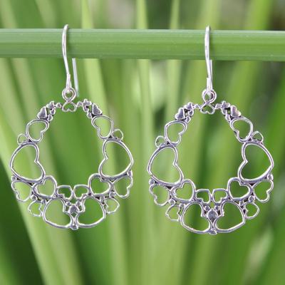 Sterling silver heart earrings, 'Joyous Love' - Heart Shaped Sterling Silver Dangle Earrings