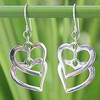 Sterling silver heart earrings, 'Forever Love' - Hand Crafted Sterling Silver Heart Earrings