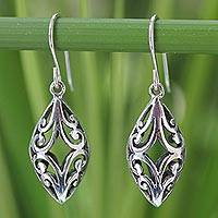 Sterling silver dangle earrings, 'Lace Arabesque' - Sterling Silver Dangle Earrings