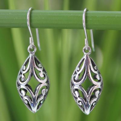 Sterling silver dangle earrings, 'Lace Arabesque' - Sterling Silver Dangle Earrings