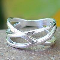 Sterling silver band ring, 'Fervent Embrace' - Handcrafted Modern Sterling Silver Band Ring