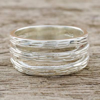 Sterling silver band ring, 'Thai Bamboo' - Handmade Modern Sterling Silver Band Ring