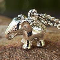 Sterling silver pendant necklace, 'Royal White Elephant'