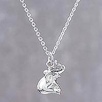 Sterling silver pendant necklace, 'Laughing Elephant'