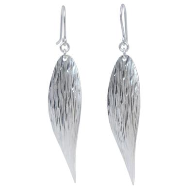 Sterling silver dangle earrings, 'Snow Wind' - Unique Sterling Silver Dangle Earrings