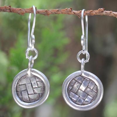 Sterling silver dangle earrings, 'Urban Love' - Sterling silver dangle earrings