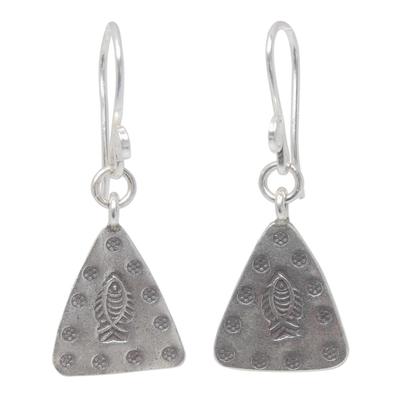 Sterling silver dangle earrings, 'Tribal Riches' - Sterling silver dangle earrings