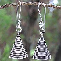 Sterling silver dangle earrings, 'Karen Song' - Sterling silver dangle earrings