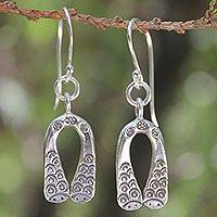 Sterling silver dangle earrings, 'Siamese Snakes' - Sterling silver dangle earrings